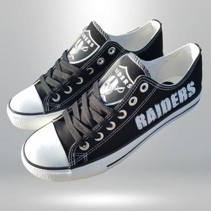 e0a2ed432a38 Oakland Raiders shoes Raiders sneakers black Fashion Canvas shoes gift