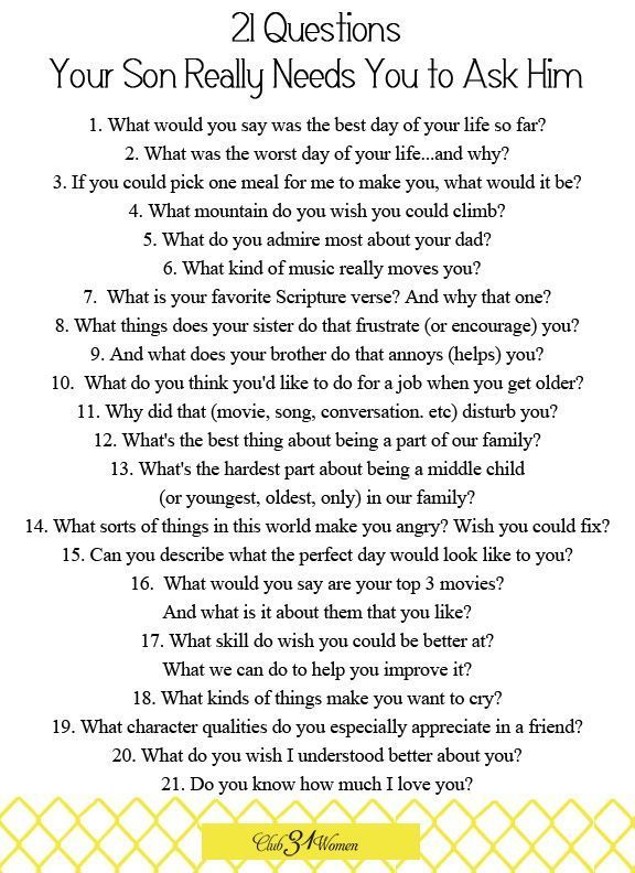 Questions for 21 questions to ask a guy