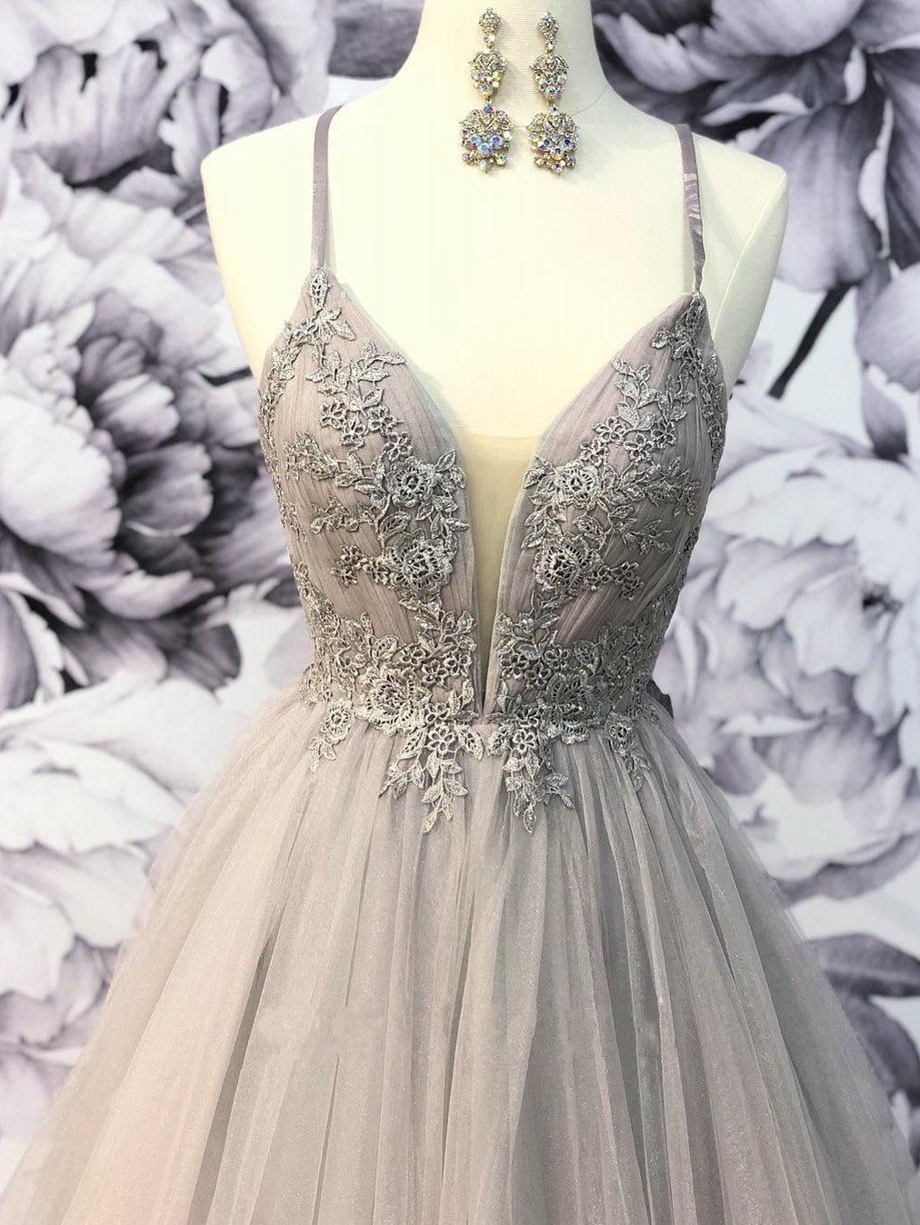 Fashion Grey Long Tulle Senior Prom Dresses 2k19 Party Gowns