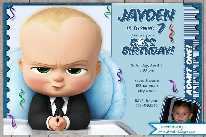 The Boss Baby Birthday Invitation Boss Baby Movie Ticket