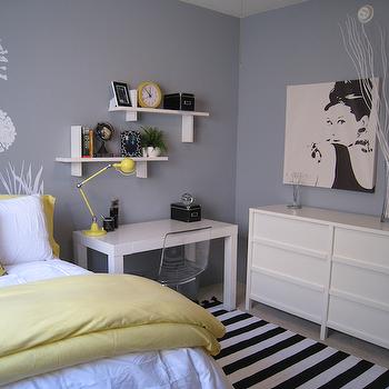Yellow and Gray Bedroom, Contemporary, bedroom, Benjamin ...