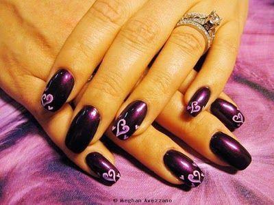 purple hearts hana i really like these  nail designs