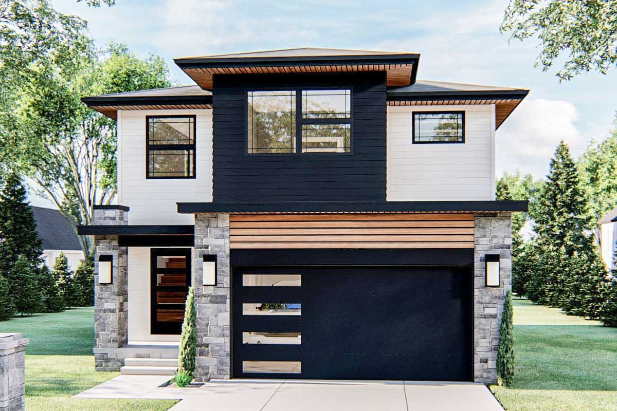 Plan 62866dj Efficient 3 Bed Modern Style Home Plan Narrow Lot House Plans Modern Style House Plans Narrow Lot House