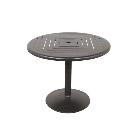Slat Java 36 Round Pedestal Dining Table Outdoor Patio Furniture