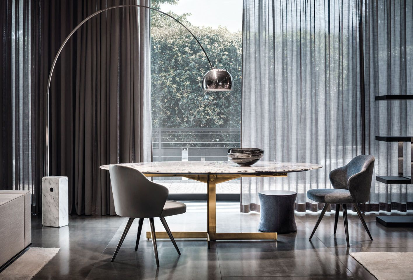 Catlin Dining Table And Leslie Little Armchairs Rodolfo Dordoni Design