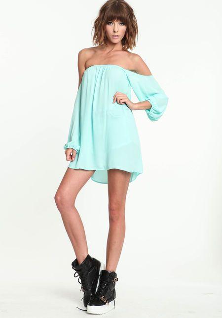 8aacd45f03d3 Mint Off Shoulder Dress