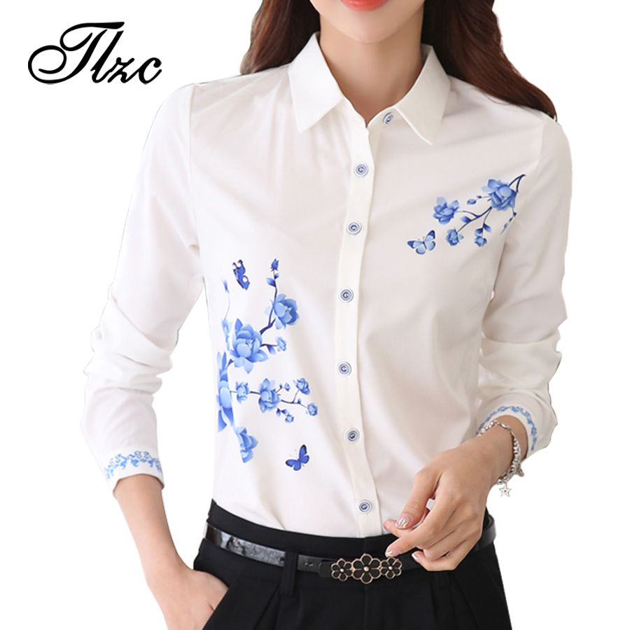 TLZC New Style Lady White Shirts Formal Work Blouse Size S-3XL ...