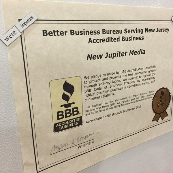 New Jupiter Media is now BBB Accredited with an A+ rating! Click the image to read our BBB review.