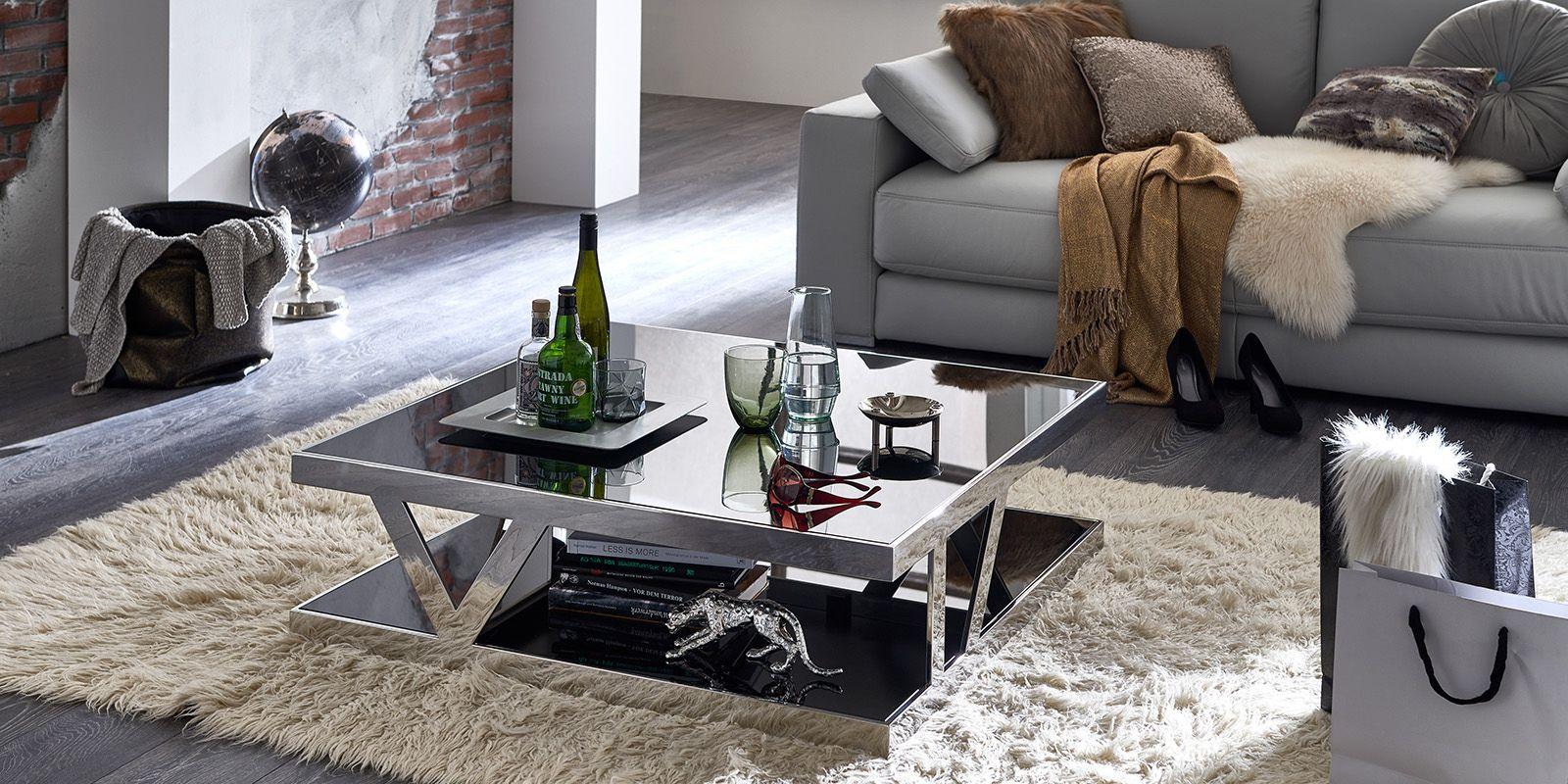 Couchtisch Parla Glastisch mit Schwarzglas quadratisch XXL