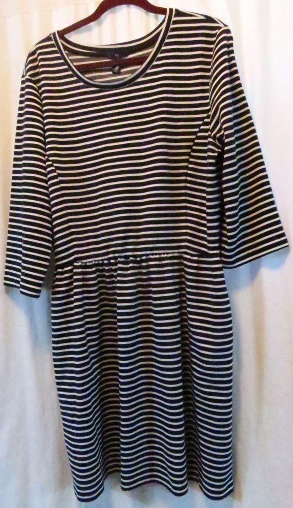 1ead6778fdaa1d GAP Striped Dress 3 4 Sleeve 2XL Black White  Gap  Shift  Casual ...