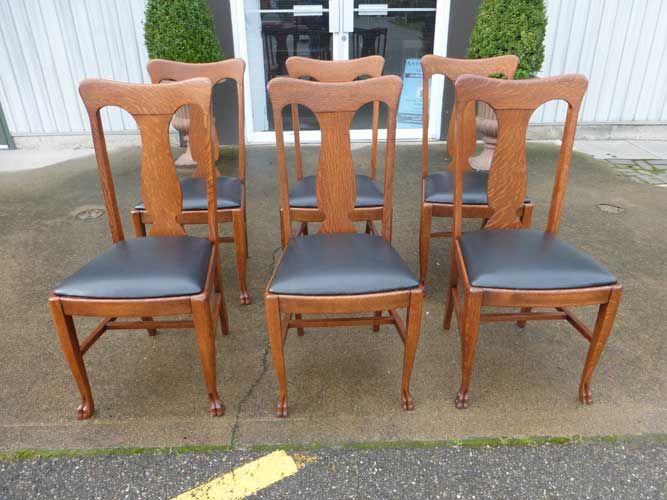 Antiques By Design - Paw Foot Quarter Sawn Oak T Back Dining Chairs - Antiques By Design - Paw Foot Quarter Sawn Oak T Back Dining