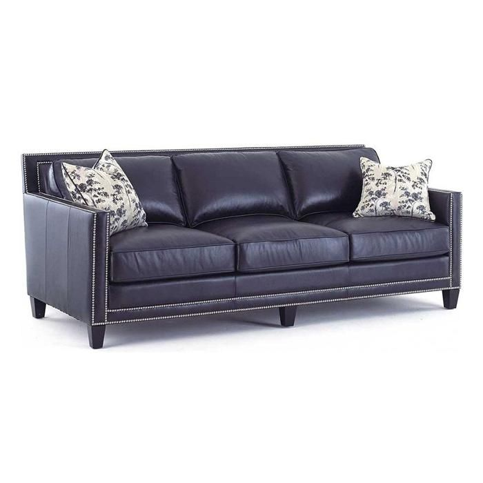 Hendrix Sofa With 2 Accent Pillows In Brooklyn Navy Blue Leather Sofa And Loveseat Navy Leather Sofa Blue Leather Sofa