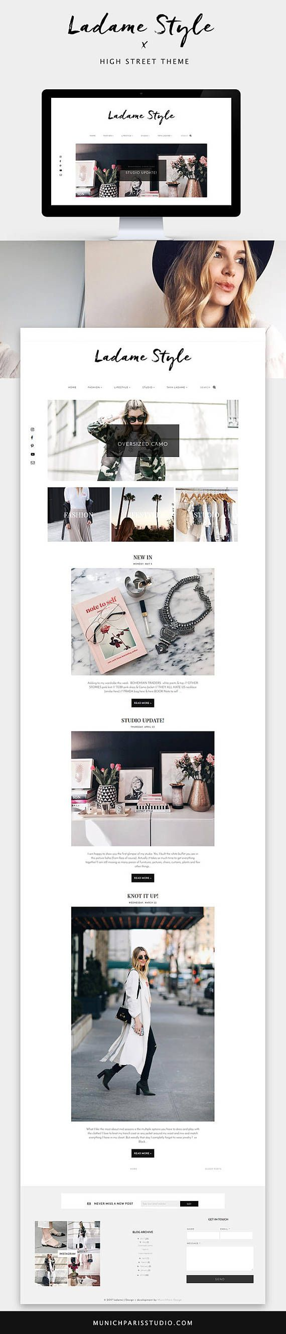 Blogger Template for Fashion Bloggers / High Street / Responsive ...