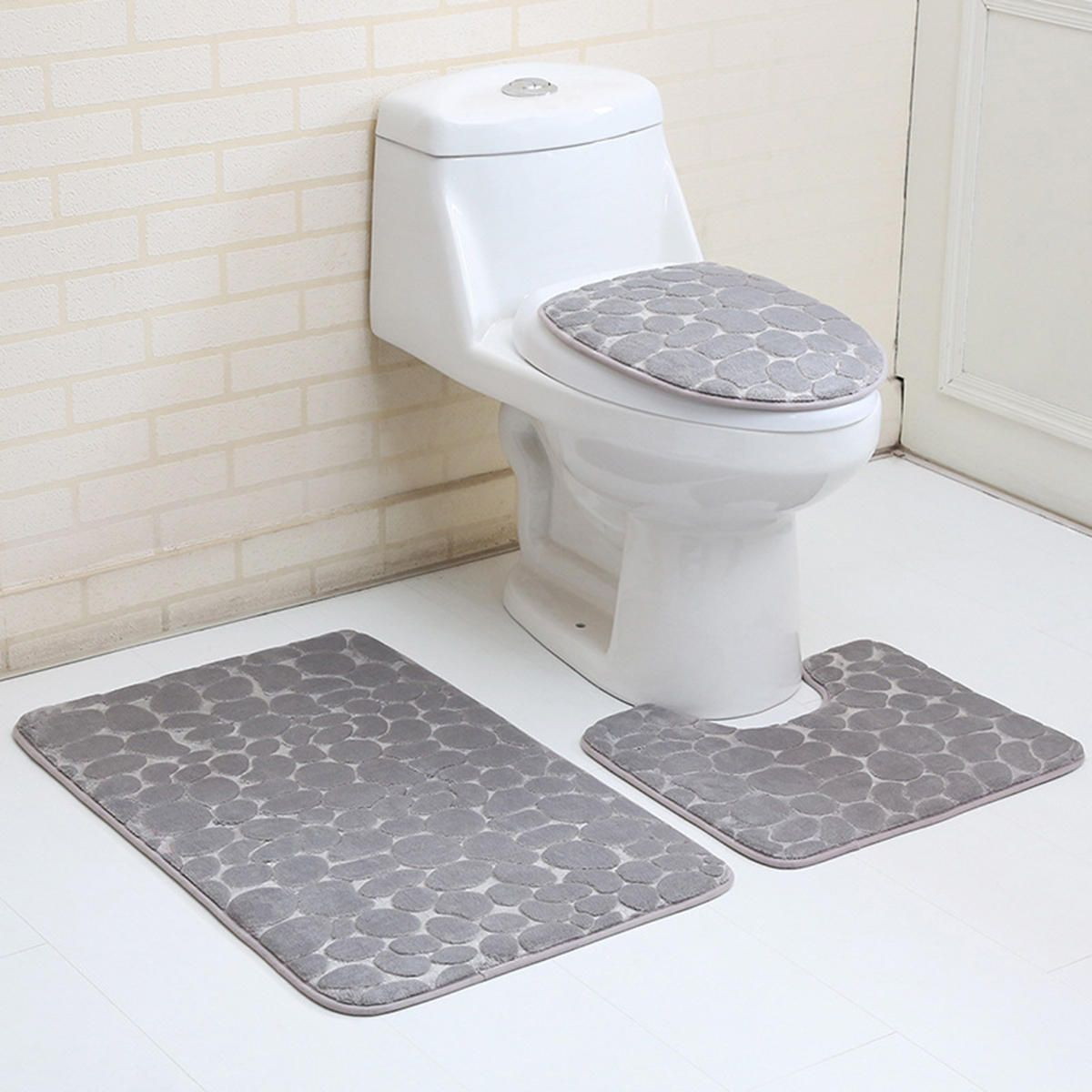 Us 17 10 3pcs Toilet Seat Covers Bathroom Carpet Non Slip