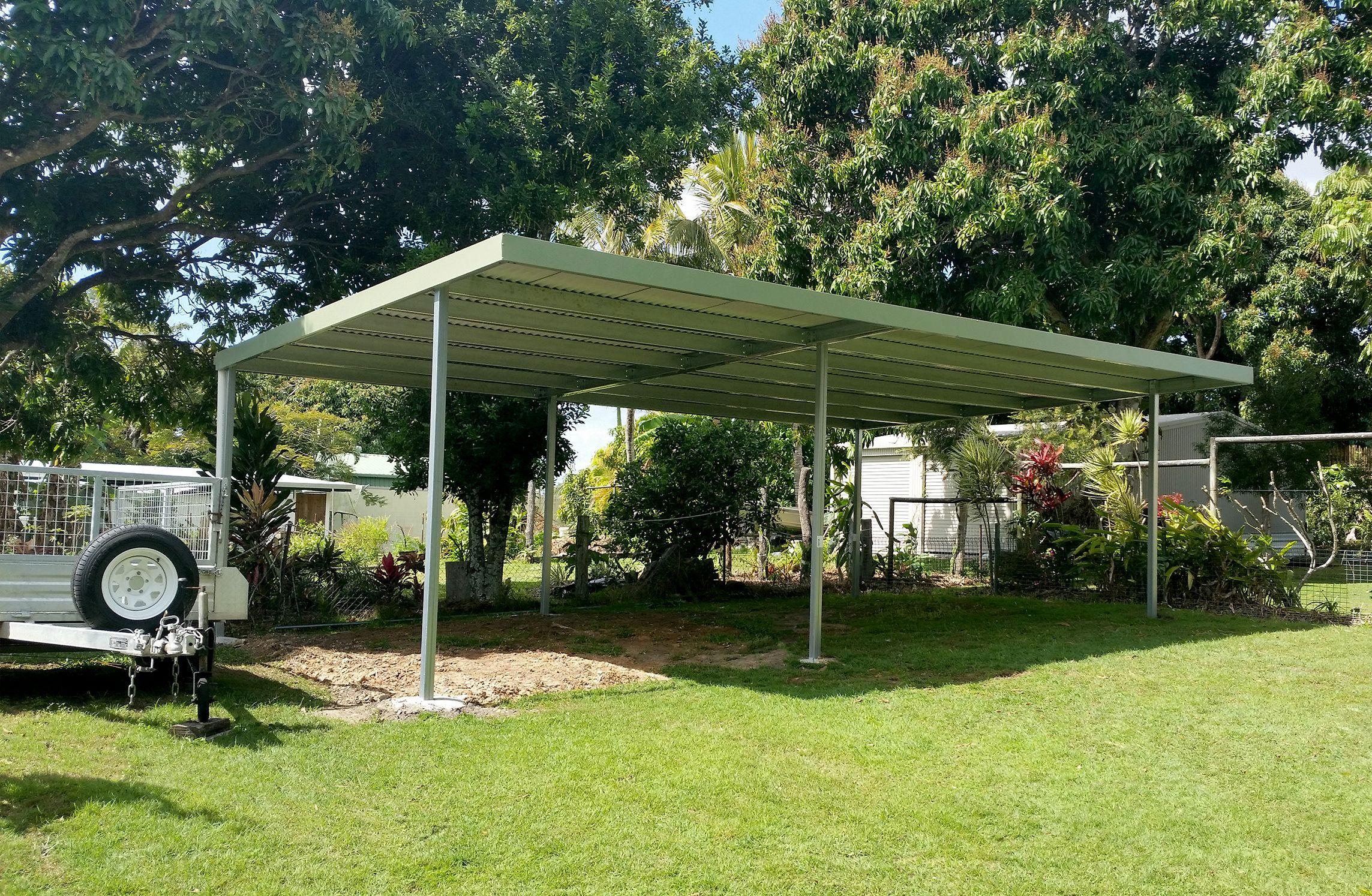 Double Skillion Carport Carport, Outdoor, Outdoor structures