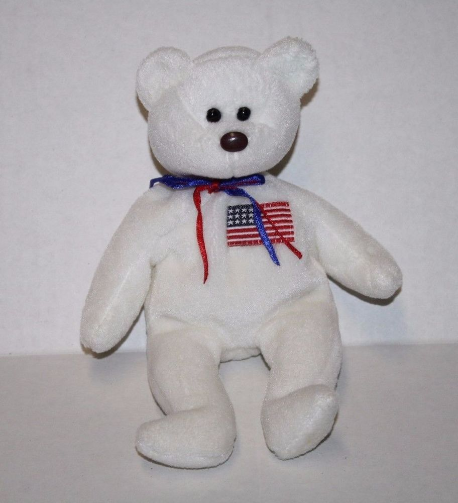 c8d50b138b4 TY Beanie Baby LIBEARTY BEANINE Error TUSH TAG Flag Plush Bear Stuffed 1996   Ty  Beanie