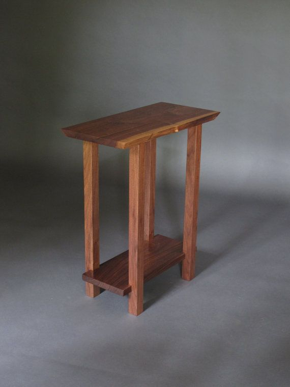 Small Table W Low Shelf Narrow End Table Live Edge Wood Furniture