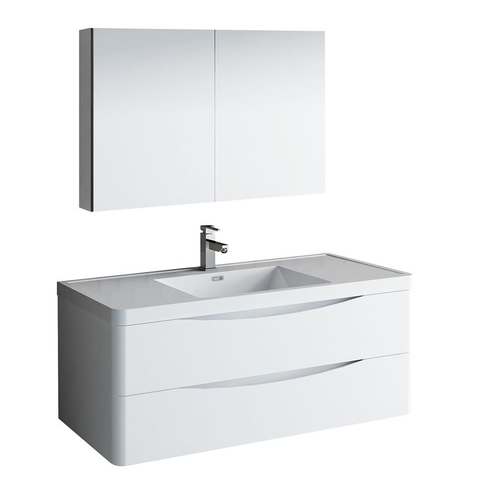 Fresca Tuscany 48 In Wall Hung Bath Vanity In Glossy White With