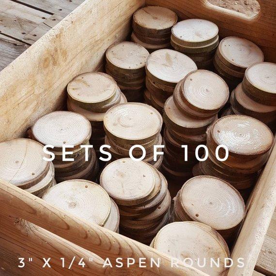 Bulk 3 Aspen Rounds 100 Wood Slices Natural Tree Etsy Wood Slices Tree Slab Handmade Coasters