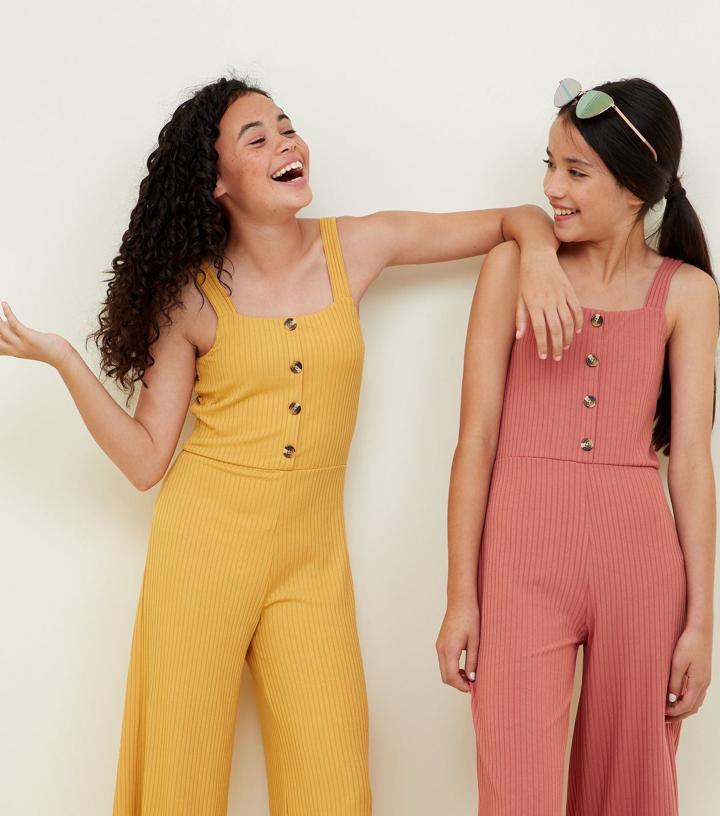 8a4427992a Girls Black Ribbed Button Front Jumpsuit in 2019