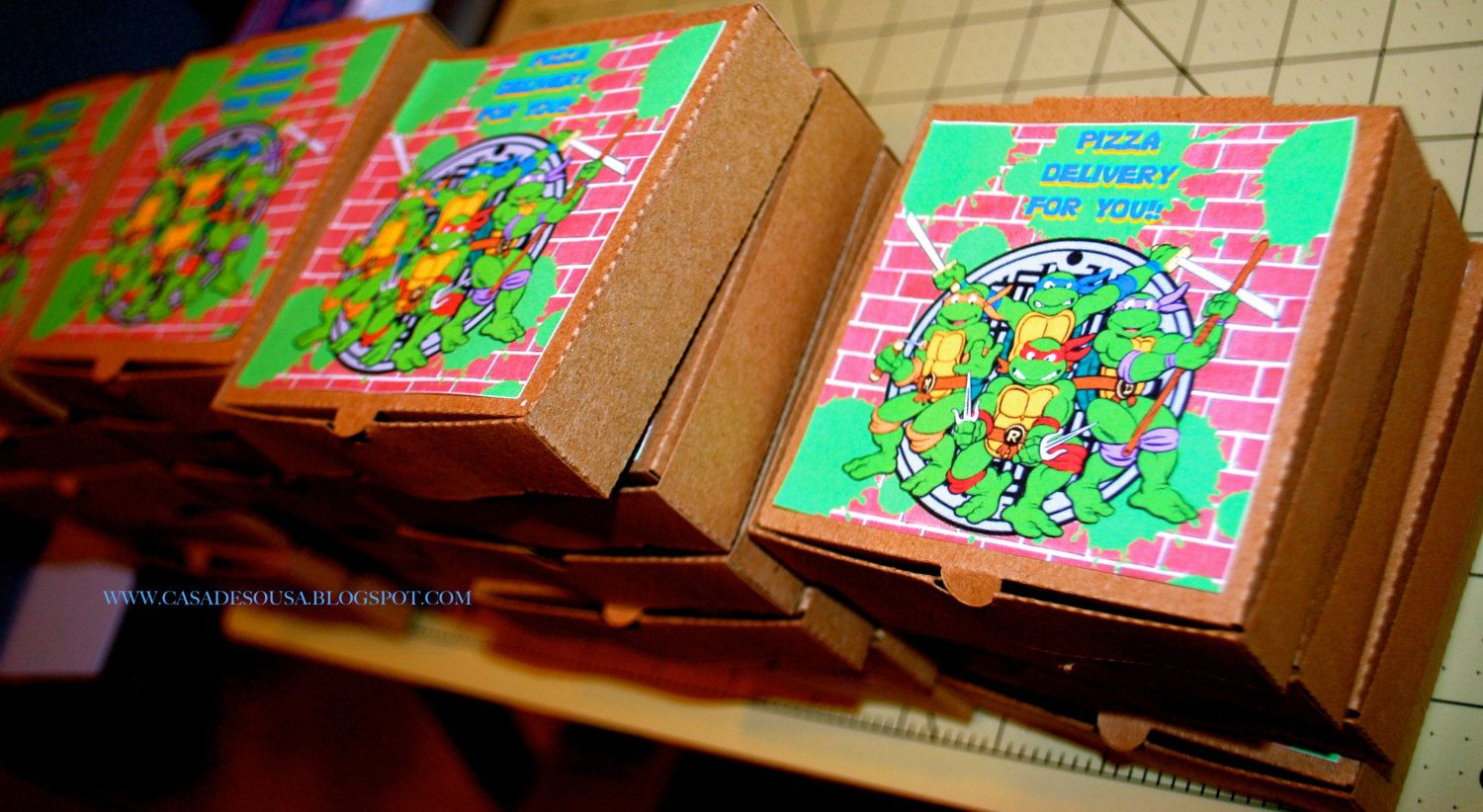 Teenage Mutant Ninja Turtle 3d Pizza Box and Invitation/ Party ...