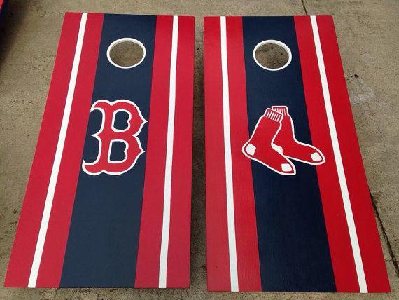 Boston Red Sox cornhole boards.