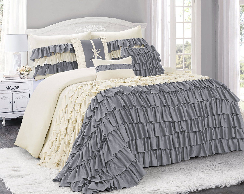 7 Piece BRISE Double Color Ruffled Comforter
