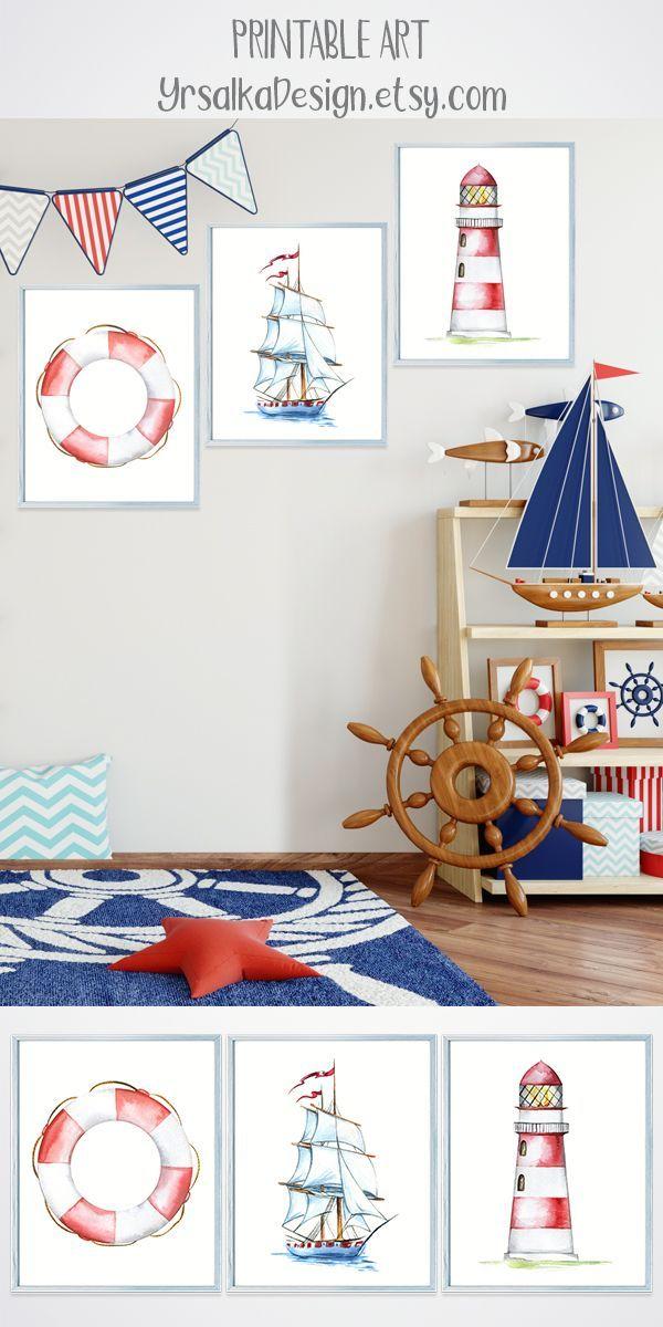 Nautical Baby Boy Nursery Room Ideas: Set Of 3 Nursery Prints, Baby Boy Nursery Decor, Nautical