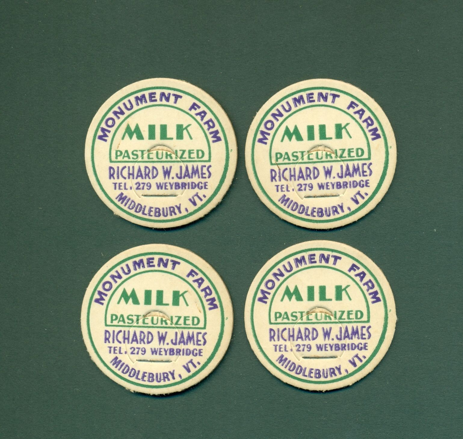 4 Middlebury Vermont Richard W James Milk Bottle Caps