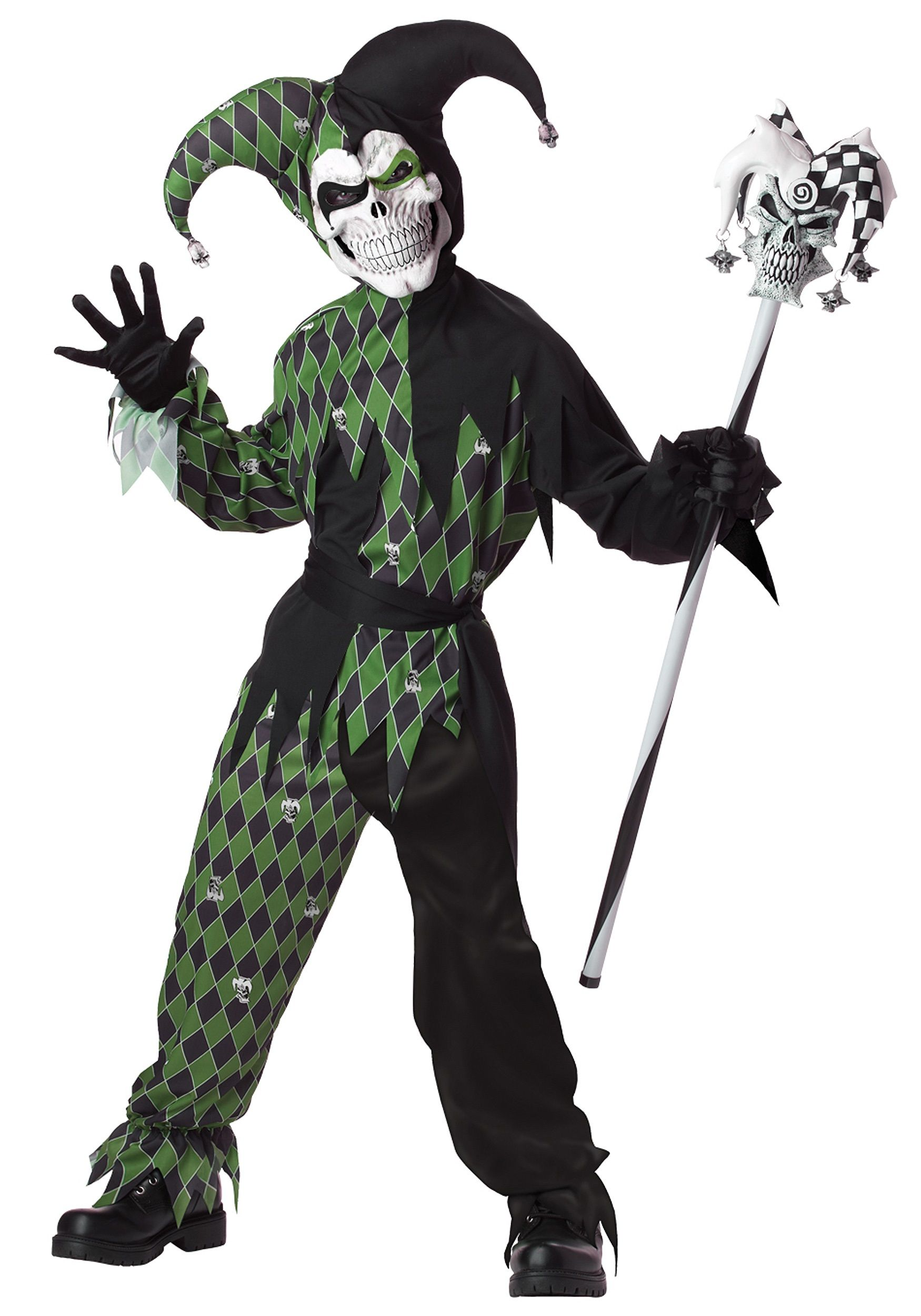 Child Green Scary Jester Costume | Scariest halloween costumes ...