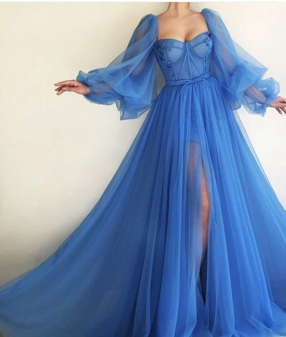 Charming Blue Prom Dresses,Off the Shoulder Evening Dresses,Long Sleeves A-line Tulle Prom Party Dresses