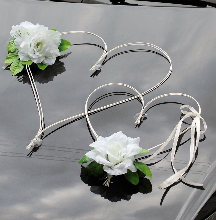 Rosen weiß BRR Brautauto Autodeko Autoschmuck Hochzeitsauto Autoschmuck