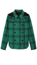 Tibi Evergreen Plaid Hooded Coat Size 4