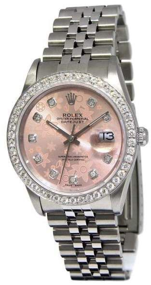 e0c5ee51c9b23 Rolex Datejust 16220 Stainless Steel with Pink Flower Diamond Dial 36mm Mens  Watch