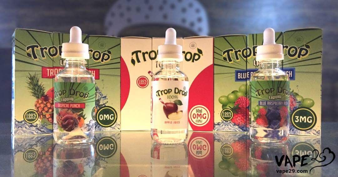 Trop Drop Blueraspberry Rush, Tropical Punch, and Apple