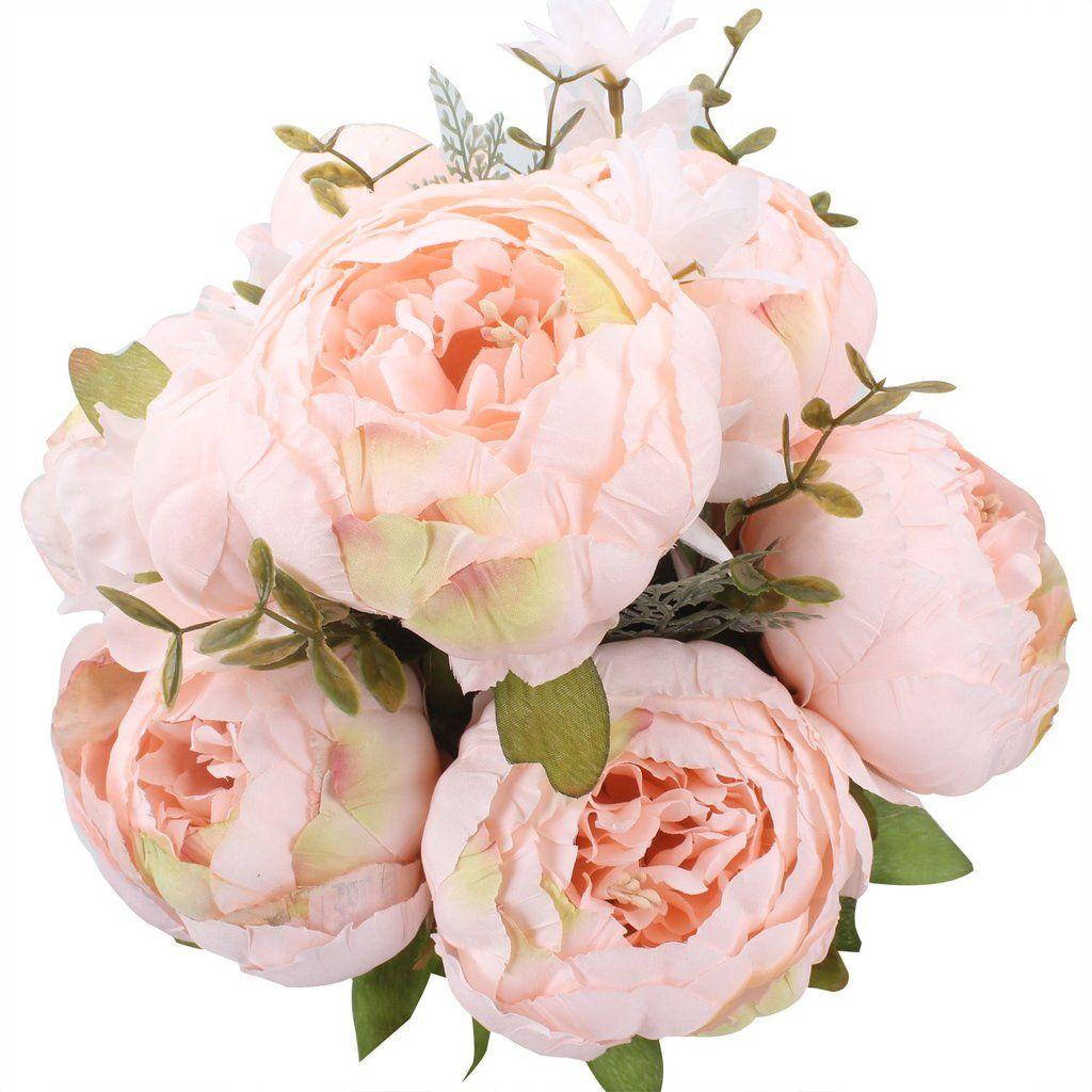 Artificial Peony Silk Flower Bouquet For Wedding Floral Arrangements /& Home Deco