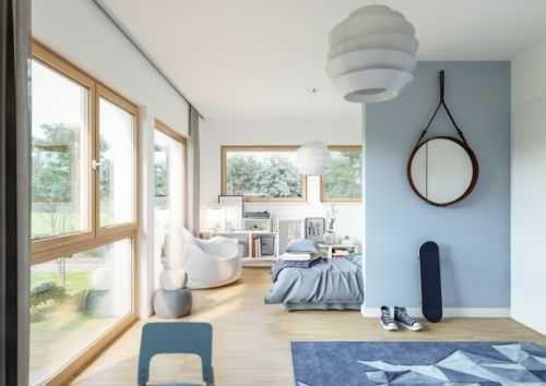 Lichtdurchfluteter Wohnbereich in Weiß und Hellblau Tönen