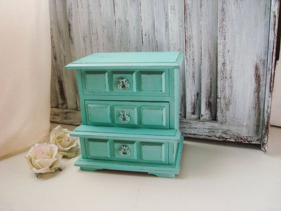 Aqua Vintage Jewelry Box Aqua Wooden Small by WillowsEndCottage