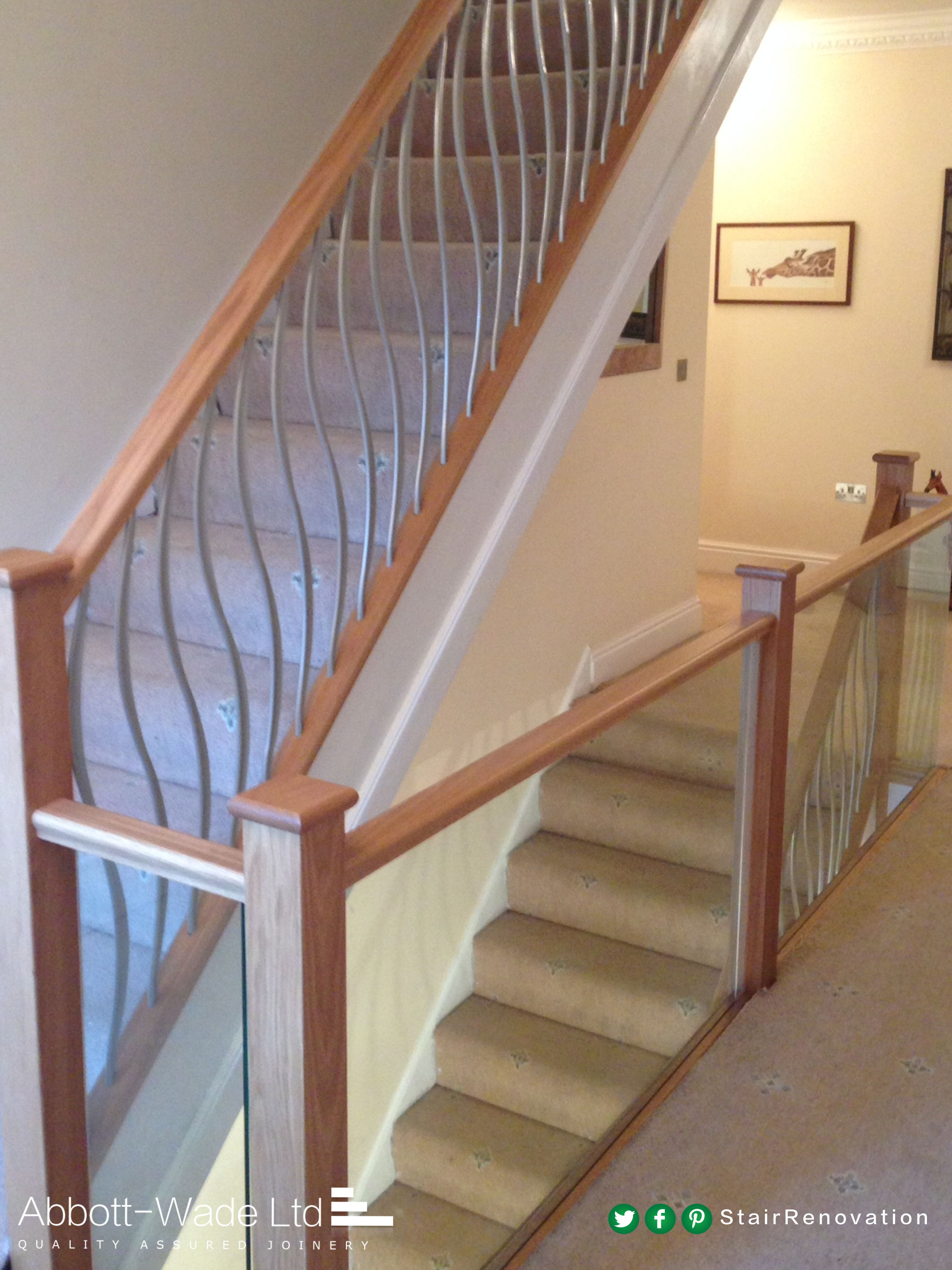 The Embedded Glass On This Landing Contrasts With The Twisted Metal Spindles  Along The Stairs