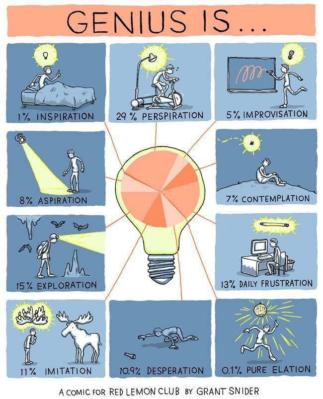 Elegant infographic on the mystery of genius #STEM #inspirations #hardwork