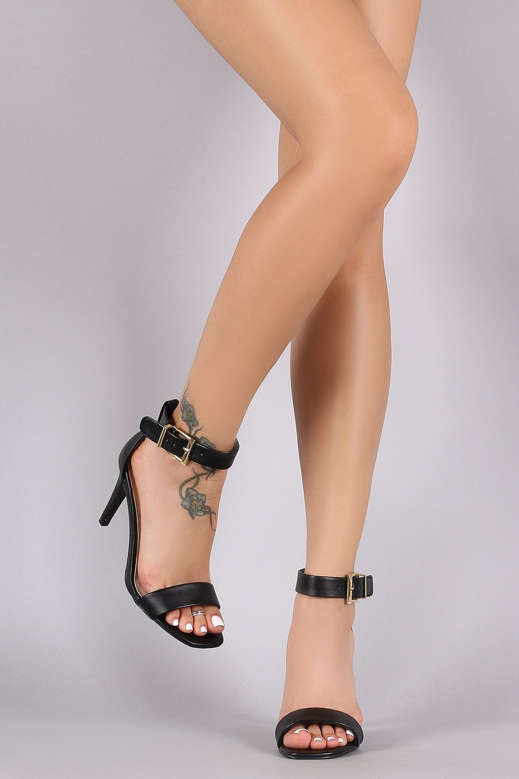 77fd0df74835 Qupid One Band Ankle Strap Single Sole Heel