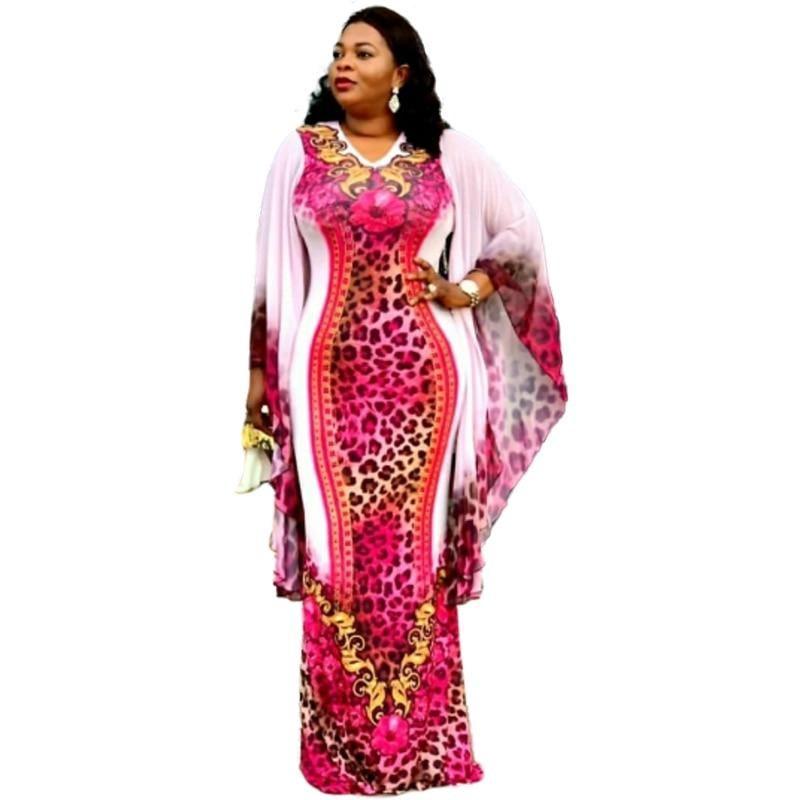 African Dresses For Women Dashiki Leopard Print V-neck Slim Long Dress