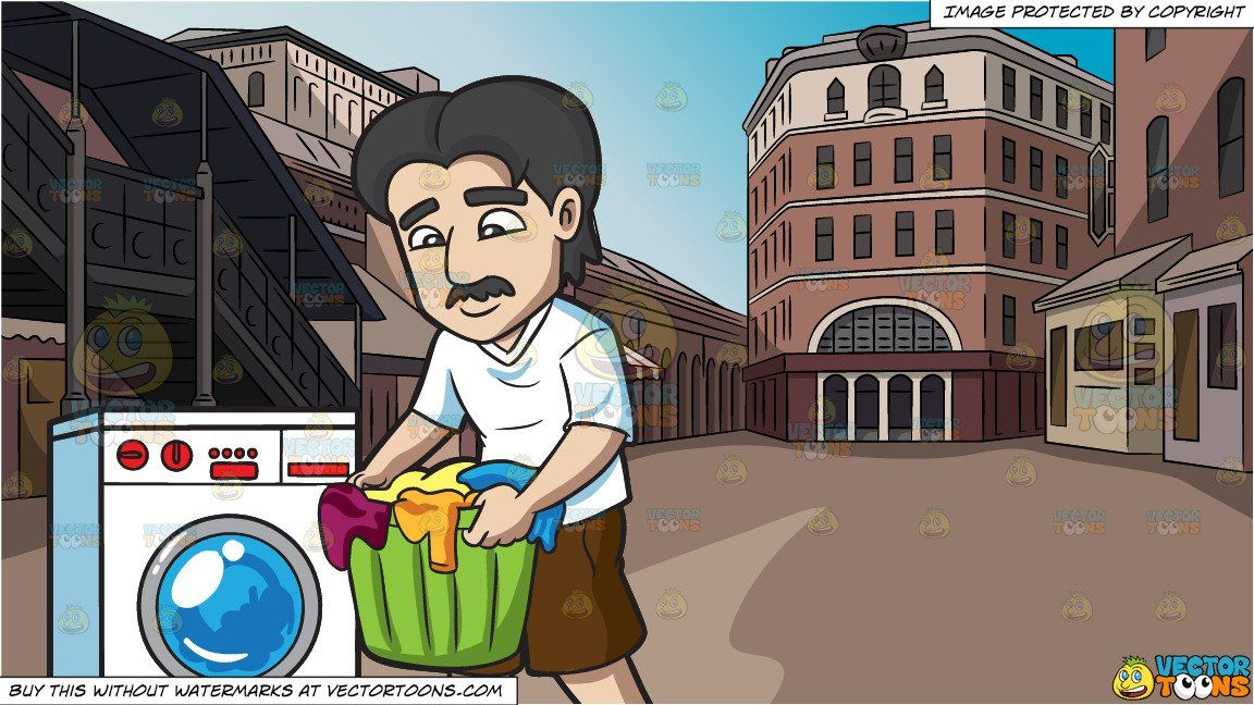 A Man Carrying Clothes For Laundry And Old Town Square Background