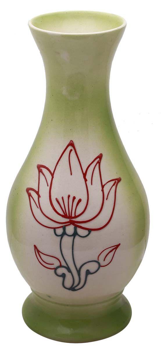 Bulk Wholesale White Pastel Green Ceramic Vase Floral Motif Art