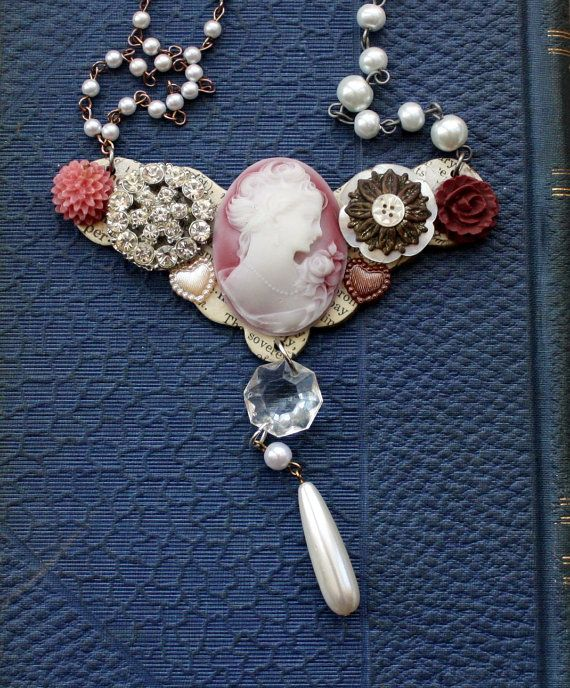 Collage Necklace with Cameo and Vintage by mitziscollectibles, $35.00