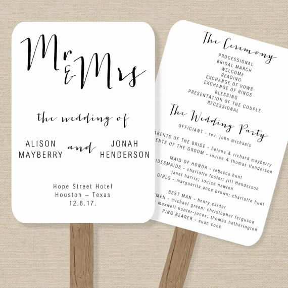 Wedding Fan Program Template - Rustic Order of Service - Printable