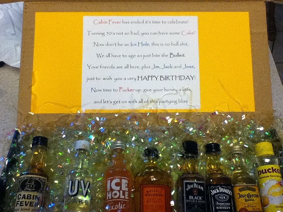 Birthday poem for a 50th birthday gift using different miniature birthday poem for a 50th birthday gift using different miniature bottles of liquor negle Images