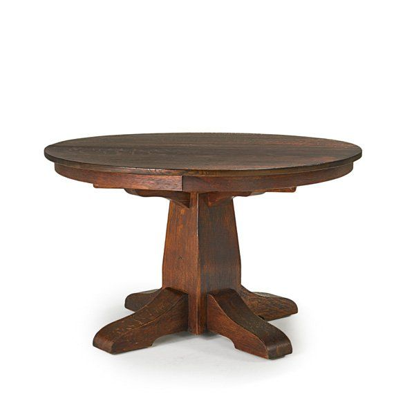 Gustav Stickley 1858 1942 Dining Table With Split Pedestal