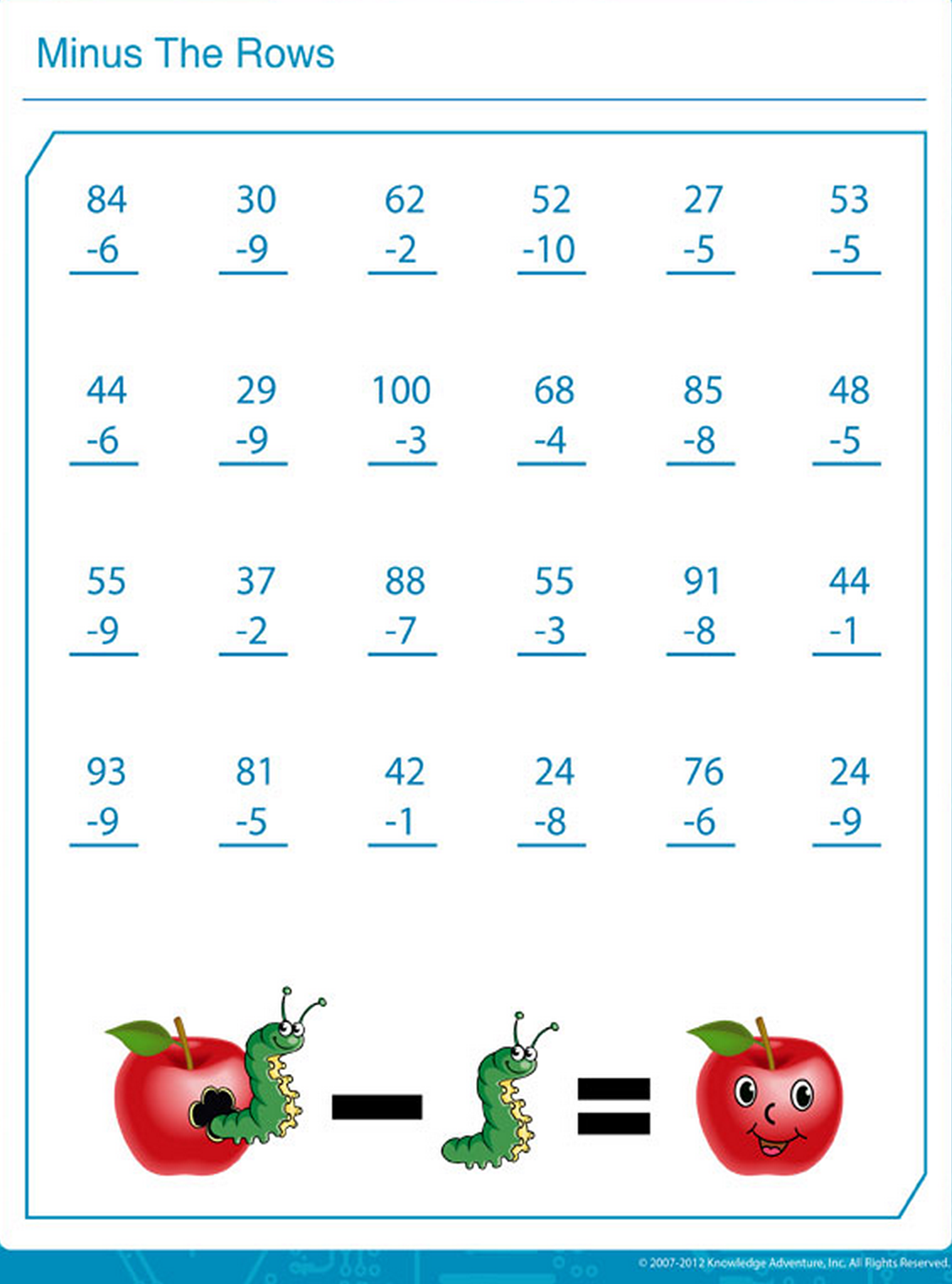 Let The Kids Try Their Hand In Subtraction Printable