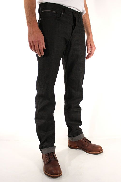 Naked & Famous Denim Weird Guy Black X Grey Stretch Selvedge